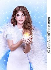 ?ute angel, portrait of beautiful teen girl wearing fluffy...