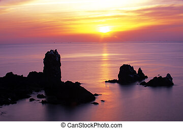Beautiful Jeju Island in South Korea,sunrise