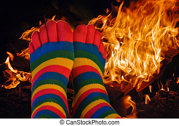 toe socks on feet - Colorful striped toe socks on feet...