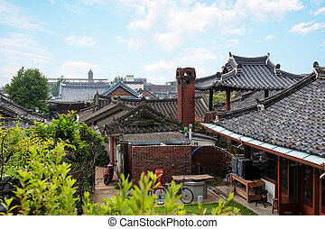 traditional village in south korea,Jeonju, Hanok Village