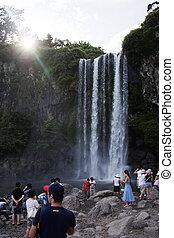 beautiful Jeju Island in South Korea,Meadow,waterfall