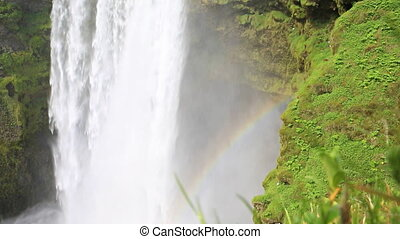 Skogafoss waterfall - Closeup of skogafoss waterfall and...