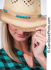 Cowgirl Hat - Womans cowboy hat with turquois beaded band