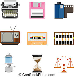 Vintage equipment icon set