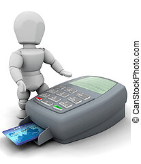 MAN WITH CREDIT CARD - 3D RENDER OF A MAN WITH CREDIT CARD