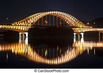 Beautiful night view of Han River Bridge in South...
