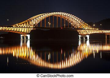 Beautiful night view of Han River Bridge in South...