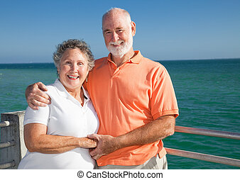 Senior Couple on Vacation - Portrait of a beautiful senior...