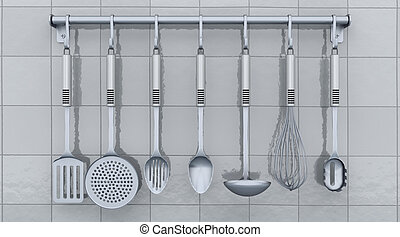 kitchen utensils on a rack - 3d render of kitchen utensils...