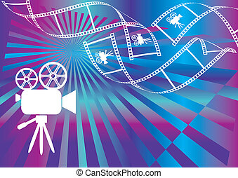Movie background - Shiny background with film stripes and...