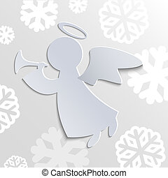 Christmas angel - Christmas card with angel and snowflakes