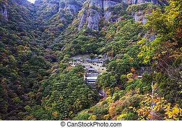 Autumn landscape with temples in south korea, cheongryangsa