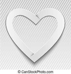 Paper heart - heart made of paper on a gray background