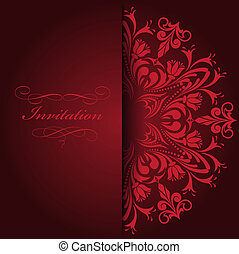 Red invitation - beautiful red invitation with a round...