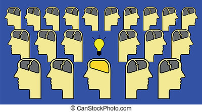 brain with idea alone - man with brain having idea alone in...