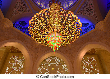 The chandelier in the Sheikh Zayed Mosque. The largest...