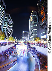 A beautiful night view of Seoul, South Korea Cheonggyecheon