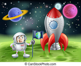 Cartoon astronaut and vintage rocket - An illustration of an...