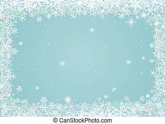 Border of snowflakes - Border of various snowflakes on light...
