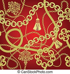 Gold chain seamless vector background.