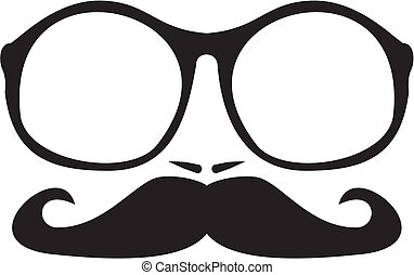 Men vector face with nerd mustache - Men vector face with...