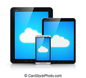 Cloud computing on mobile devices - Creative abstract cloud...