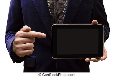 A man shows the Tablet-PC on a white background