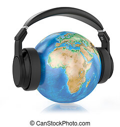 Headphones on planet Earth