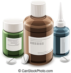 Bottles with medical drugs and pills Eps10 vector...