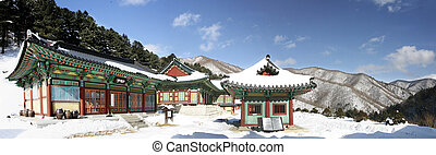 Sangwonsa temples in south korea, winter landscape