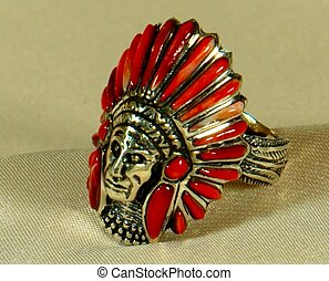 Sterling Silver Ring wIndian Head - Native American Sterling...