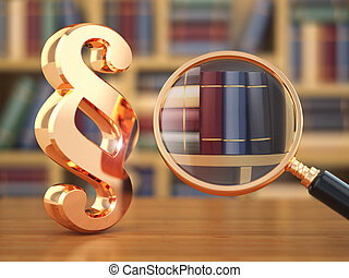 Law concept Paragraph, loupe and books 3d