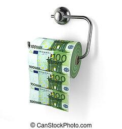 Euro devaluation Money as toilet paper 3d
