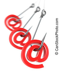Phishing e-mail. 3d - Phishing e-mail. Hook and sign on...