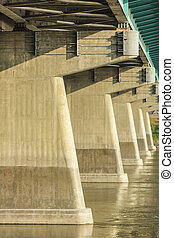 Concrete Trusses of a Bridge - The concrete trusses over the...