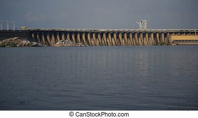 Sunset Light on Hydro Dam in Zaporizhzhya, Ukraine.