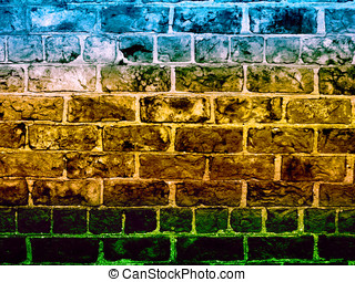 Coloured stonewall - Section of stonewall coloured with...
