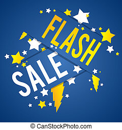 Flash Sale With Thunder and Stars on Blue Background vector...