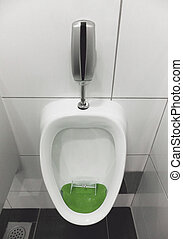 Soccer Urinal - Urinal With Miniature Plastic Goalposts and...
