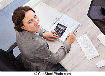 Happy Female Accountant - Portrait Of Smiling Young Female...