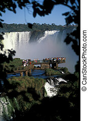 Iguacu Falls - Viewing platform full of people at Iguacu...