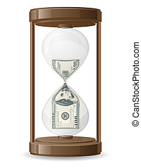 one hundred dollars leaking in the hourglass illustration...