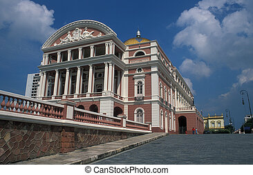 Opera House in the Amazon - Pink and white opera house in...