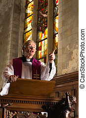 Priest sermon - Minister preaching during mass in a medieval...
