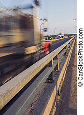 Traffic on Bridge - The passing traffic including a semi...