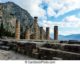Apollo Temple in oracle Delphi, Greece - The Apollo Temple...