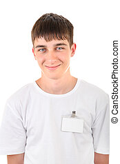Teenager with Empty Badge Isolated on the White Background