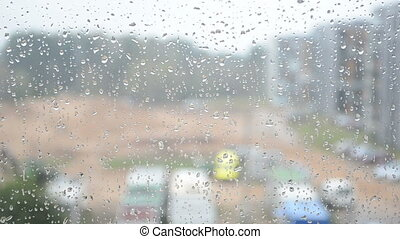 water drops glass rain - rain water drops on glass and...