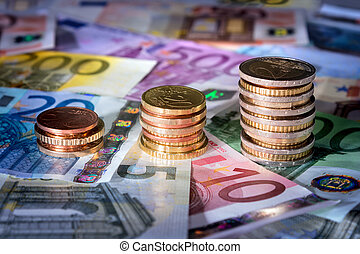 coins chart on euro banknotesuFFFCuFFFC