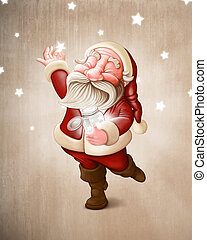 Santa Claus collects stars - Santa Claus collects the...